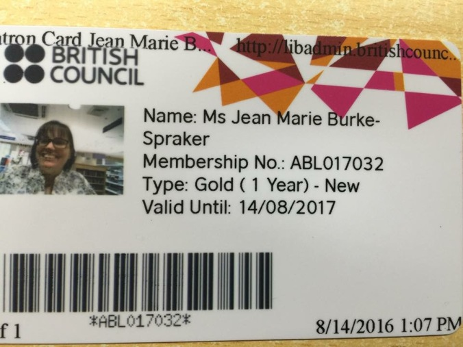 My library card for the British Council Library, Bangalore