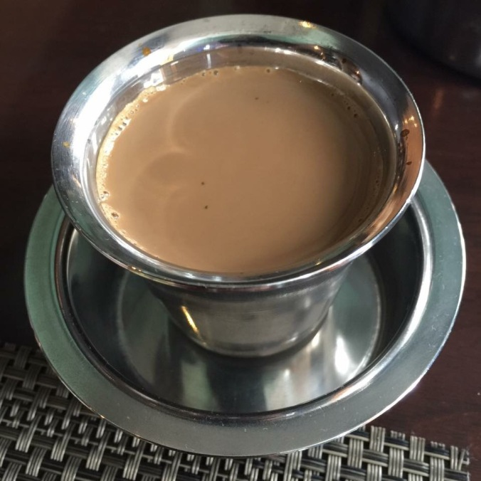 Filter coffee served in the traditional stainless steel cup at JW Marriott, Bengaluru