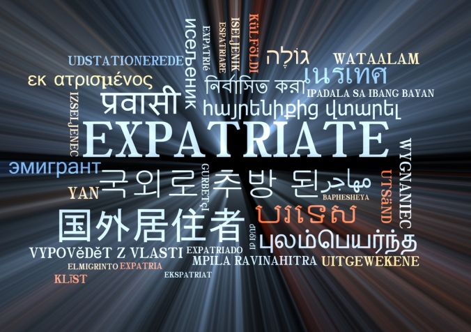 expatriate multilanguage wordcloud background concept glowing